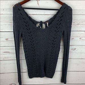 Free People | Charcoal Gray Open Knit Sweater
